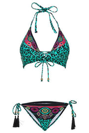 Allovely Leopard Fringed Halterneck Bikini