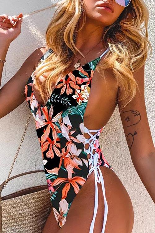 Allovely Lemon Print Straps One Piece