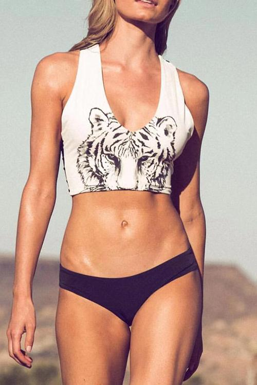 Allovely Tiger Print sexy Zipper Bikini