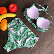 Allovely Leaf Print High Waist Bikini