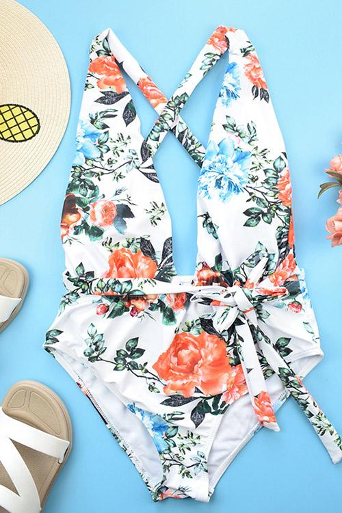 Allovely Printed Halter Strap One Piece