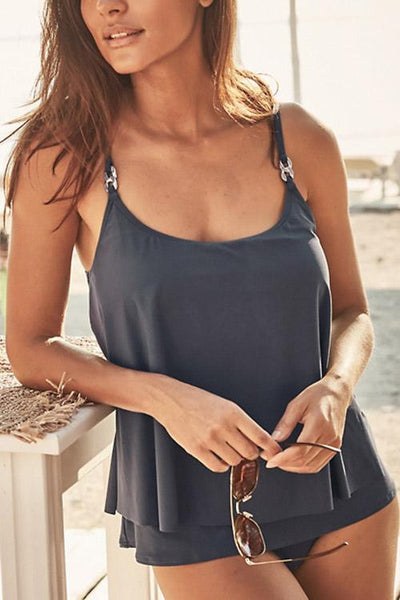 Allovely Solid Color Simple Double Layer Tankini
