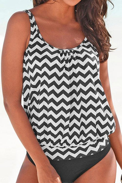 Allovely Wavy Stripes Print Tankini