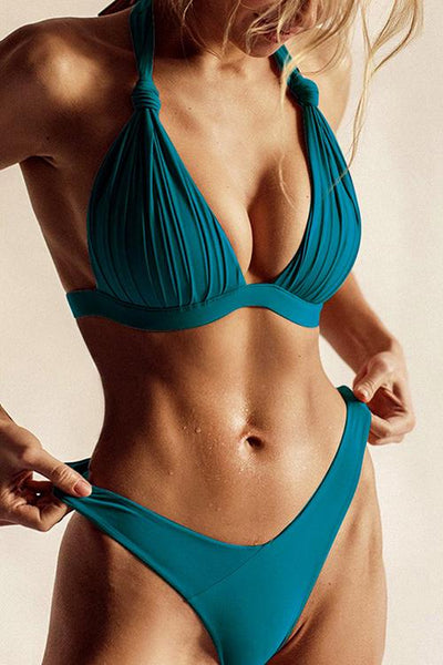 Allovely V-Neck Halter Pleated Bikini