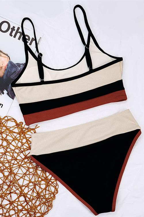 Allovely Ribbed Contrast Color High Waist Bikini