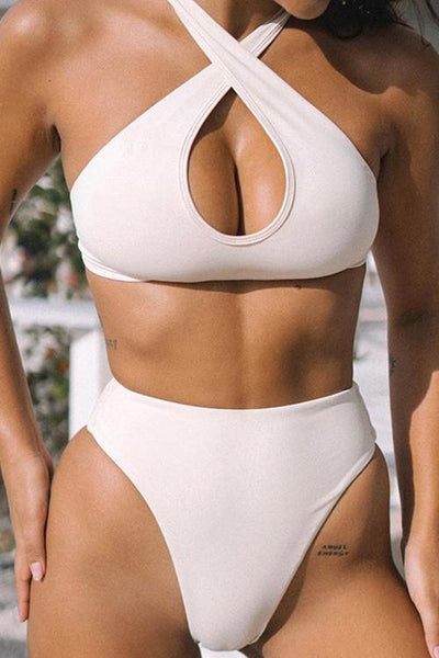 Allovely Solid Color Cross High Waist Bikini