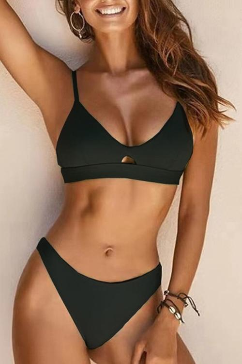 Allovely Solid Color Hollow Simple Bikini