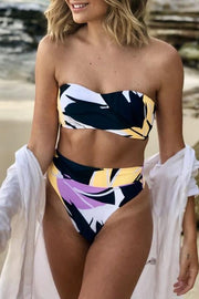 Allovely Geometric Print High Waist Bikini