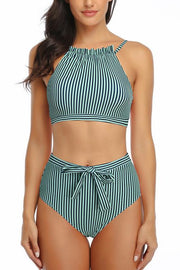 Allovely Striped Hanging Neck High Waist Bikini