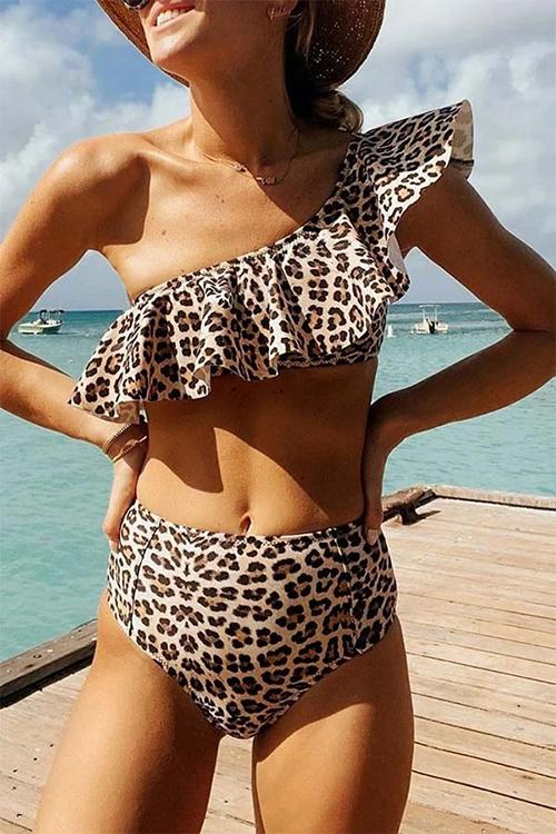 Allovely Leopard Ruffle One-Shoulder Bikini