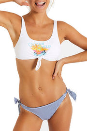 Allovely Coconut Tree Striped Summer Bikini