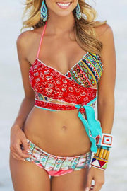 Allovely Cross Contrast Lace-Up Bikini