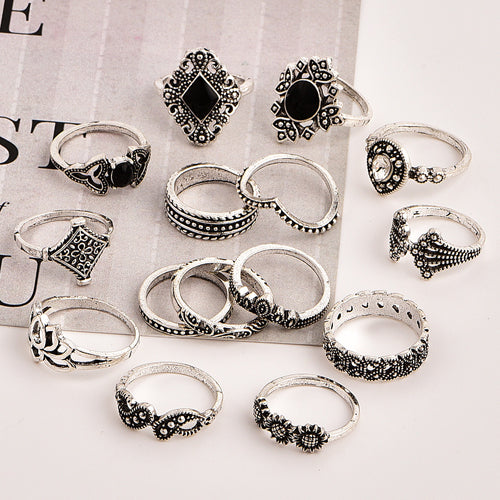 Allovely Sunflower Lotus Ring Set