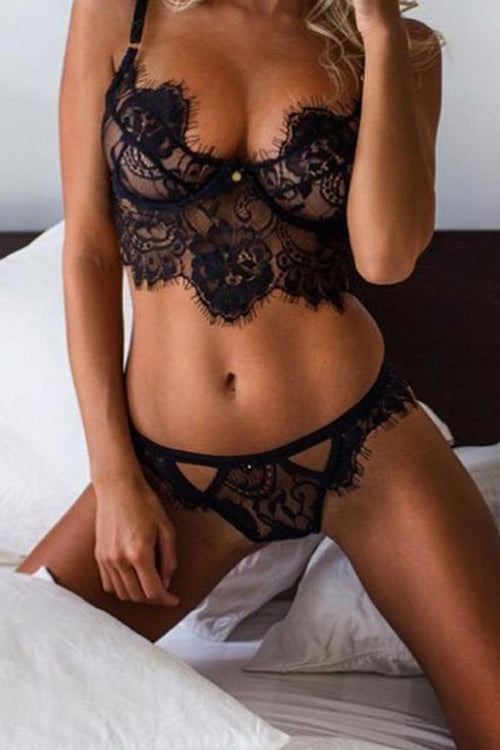 Allovely Eyelash Lace Bralette Lingerie Bra Set