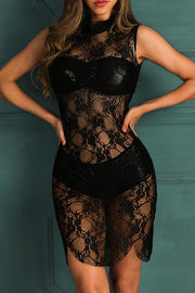 Allovely Sheer Lace Babydoll Dress With Panty
