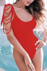 Allovely Chic Tassels One Piece Tankini