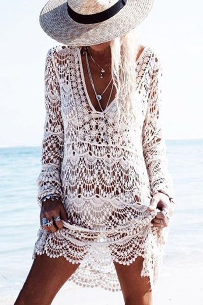 Allovely Stylish Crochet V-neck Handmade Cover Up