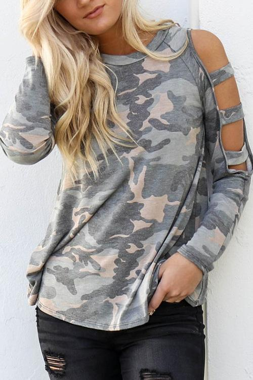 Allovely Camo Ripped Sleeves T-shirt
