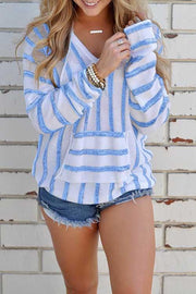 Allovely Stripe Pocket Thin Sweater Hoodie