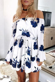 Allovely Flower Print Off Shoulder Belted Dress