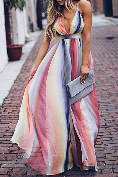 Allovely Rainbow Stripe Backless Maxi Dress