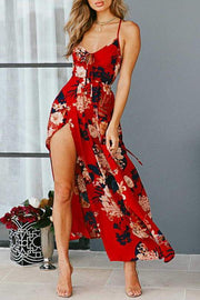 Allovely Flora Print Back Lace-up Slit Dress