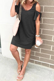Allovely Cold Shoulder Tie Dress