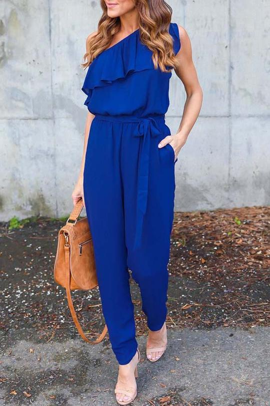 Allovely Ruffle One Shouldr Jumpsuit
