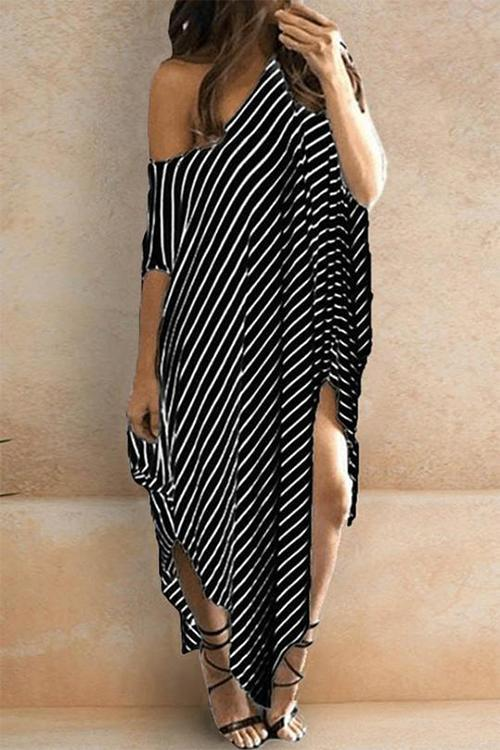 Allovely Striped One Shoulder Irregular Maxi Dress