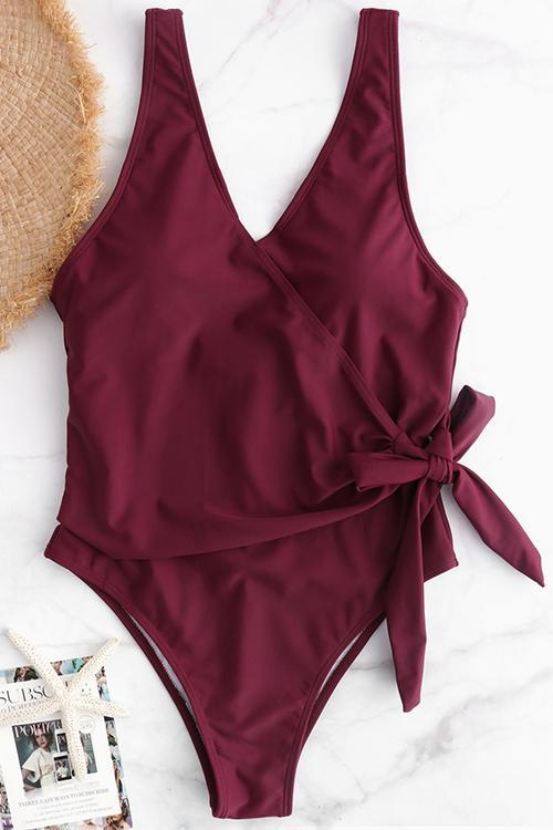 Allovely Sexy Surplice Bow-tie Belted One-piece Swimsuit