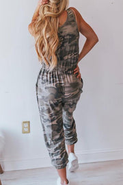 Allovely Camo Elastic Belt Jumpsuit