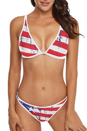 Allovely Spaghetti Straps Flag Print Bikini Set