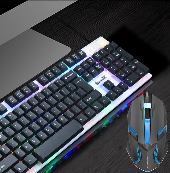 Backlight Computer And Gaming Keyboard and Mouse  LED Multi-Colored Changing Backlight Keyboard Set