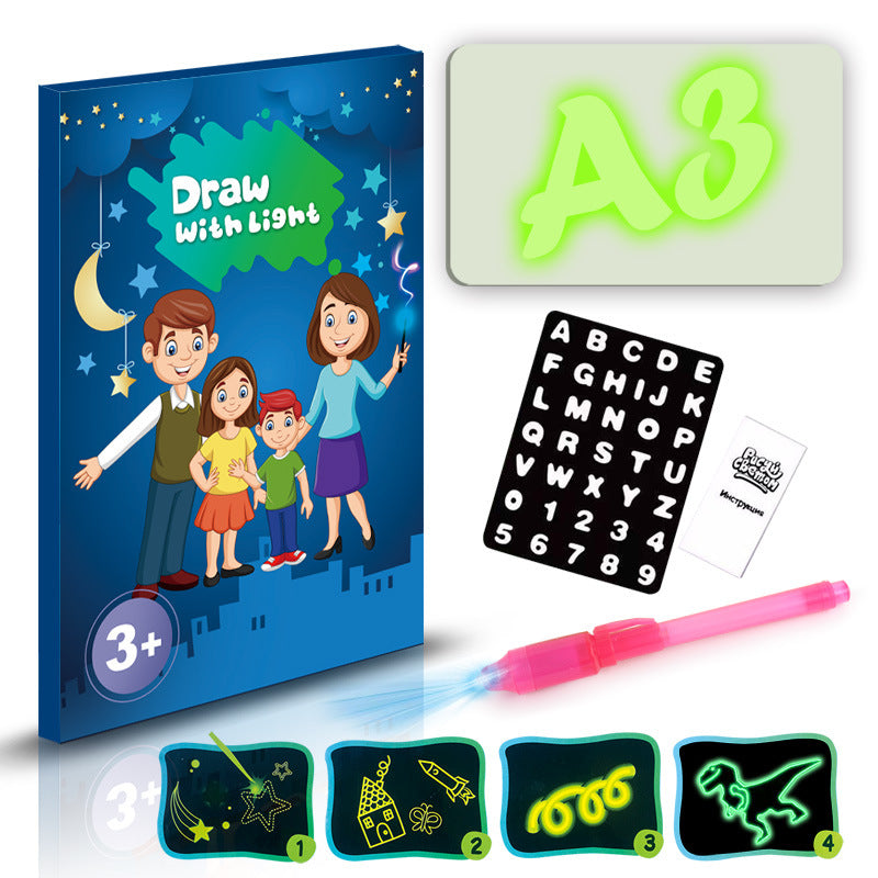 Educational Toy Drawing Pad 3D Magic 8 Light Effects Puzzle Board Sketchpad