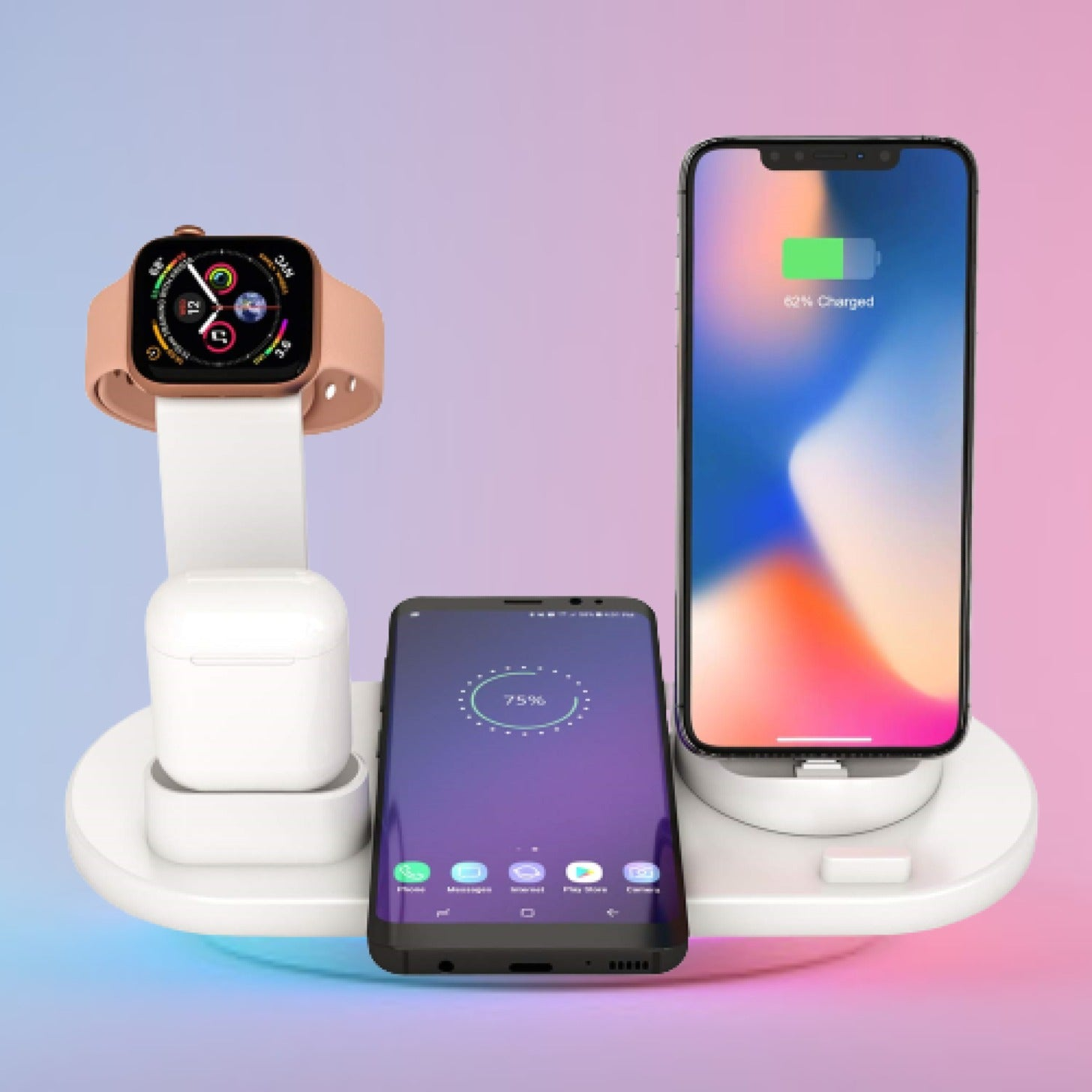 4 in 1 Wireless Charging Dock Charger Stand for iPhone Airpods Apple Watch - TurboTech215.com