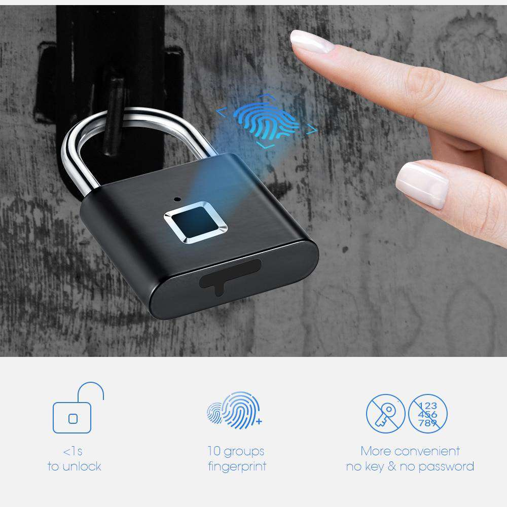 Door Lock Fingerprint Keyless USB Rechargeable Smart Padlock - TurboTech215.com