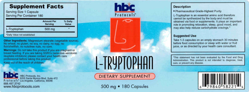 L-Tryptophan - 180 Capsules