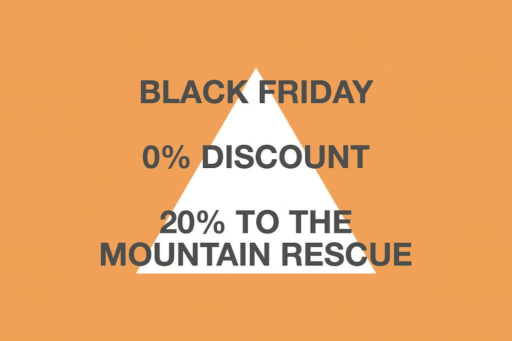 Anti Black Friday statement on orange background with white triangle