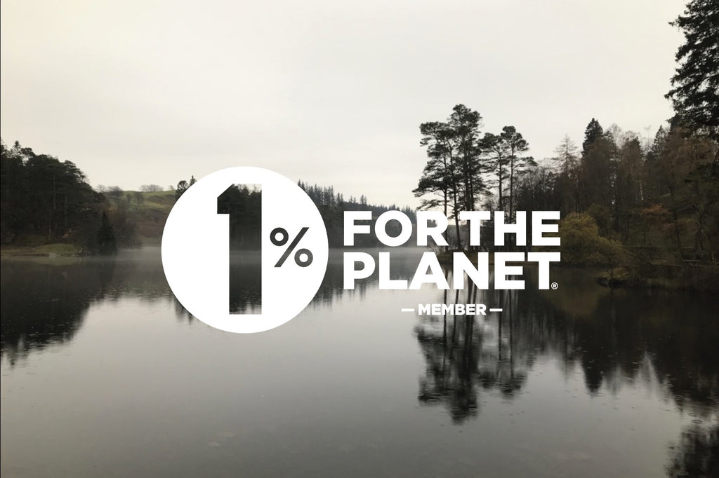 One Percent For The Planet logo over Lake District view