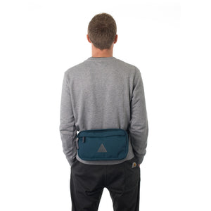Man wearing blue bumbag.