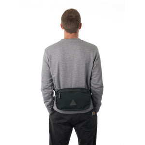 Man wearing grey bumbag.