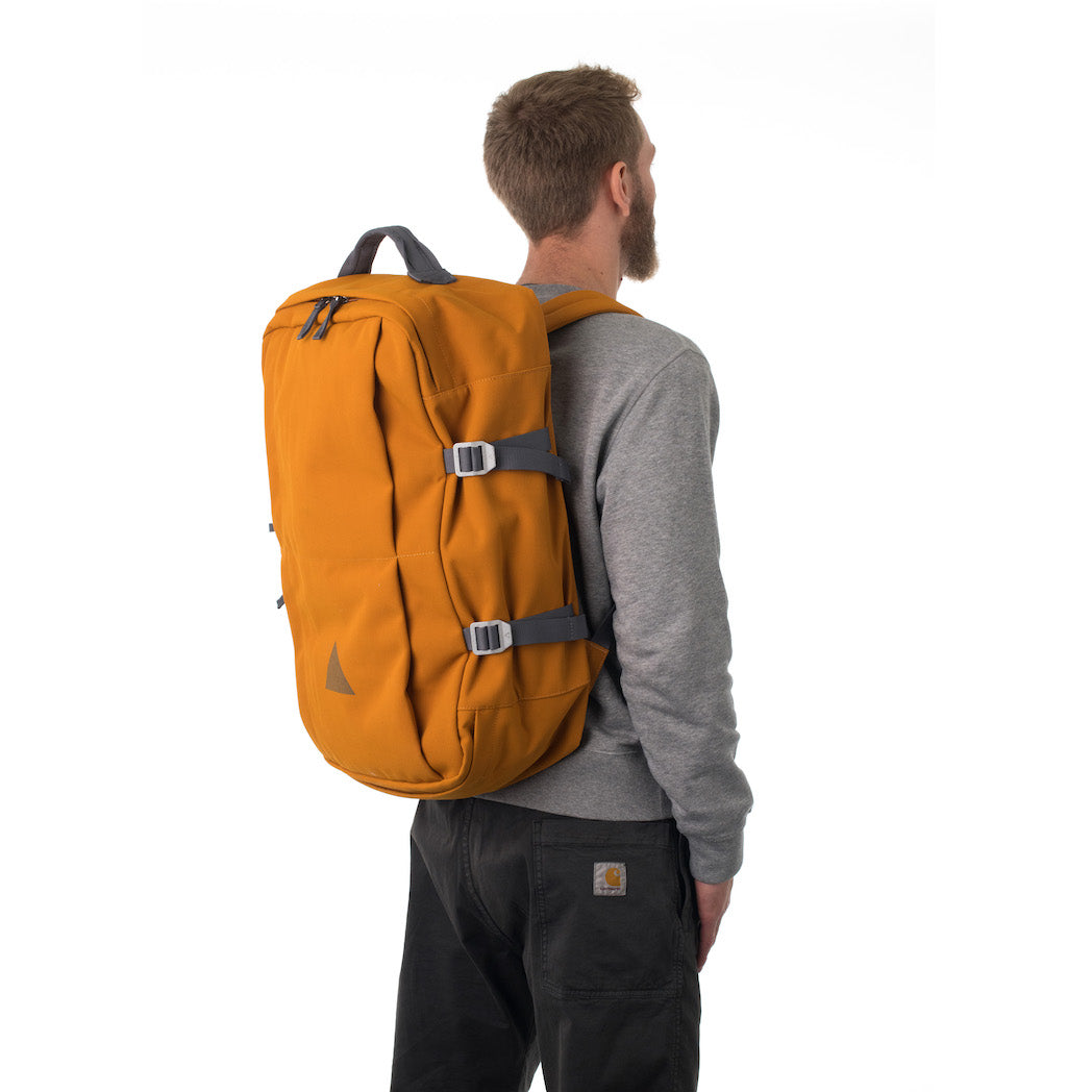 Man carrying orange travel backpack.