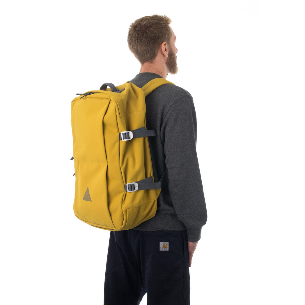 Man carrying yellow travel backpack.