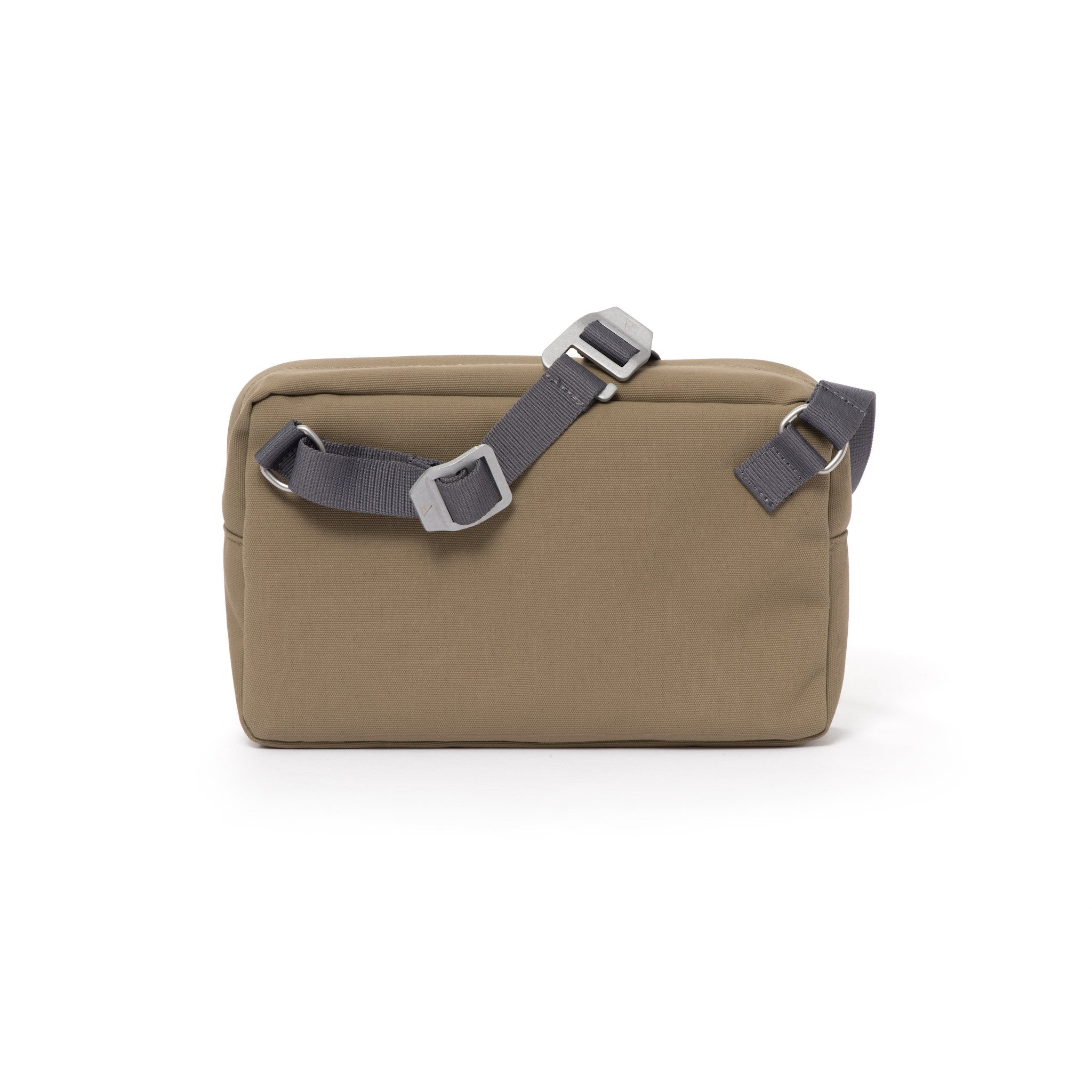 Khaki shoulder bag with webbing strap and aluminium buckles.