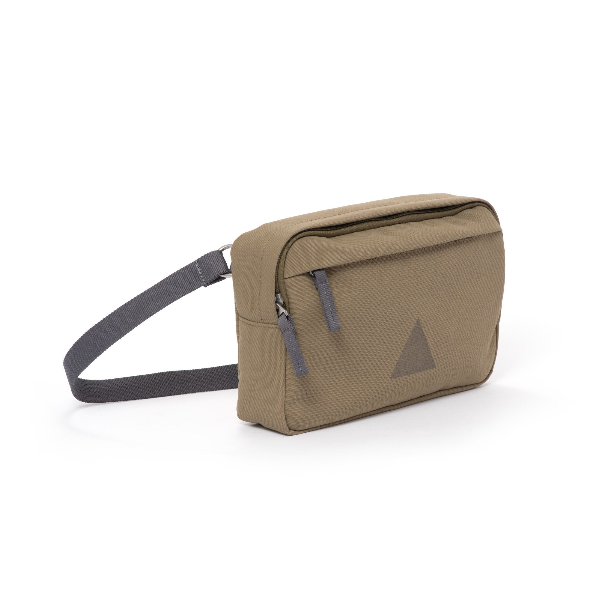 Khaki canvas shoulder bag with zip pockets and webbing strap.