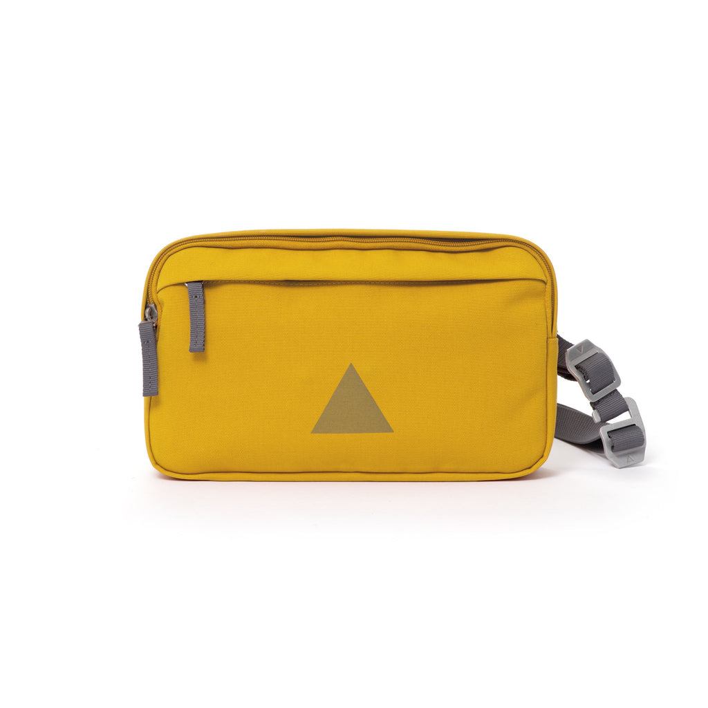 Yellow Grey canvas shoulder bag with front zip pocket, webbing strap and aluminium buckles.