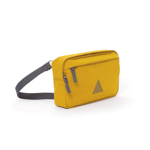 Yellow canvas shoulder bag with zip pockets and webbing strap.