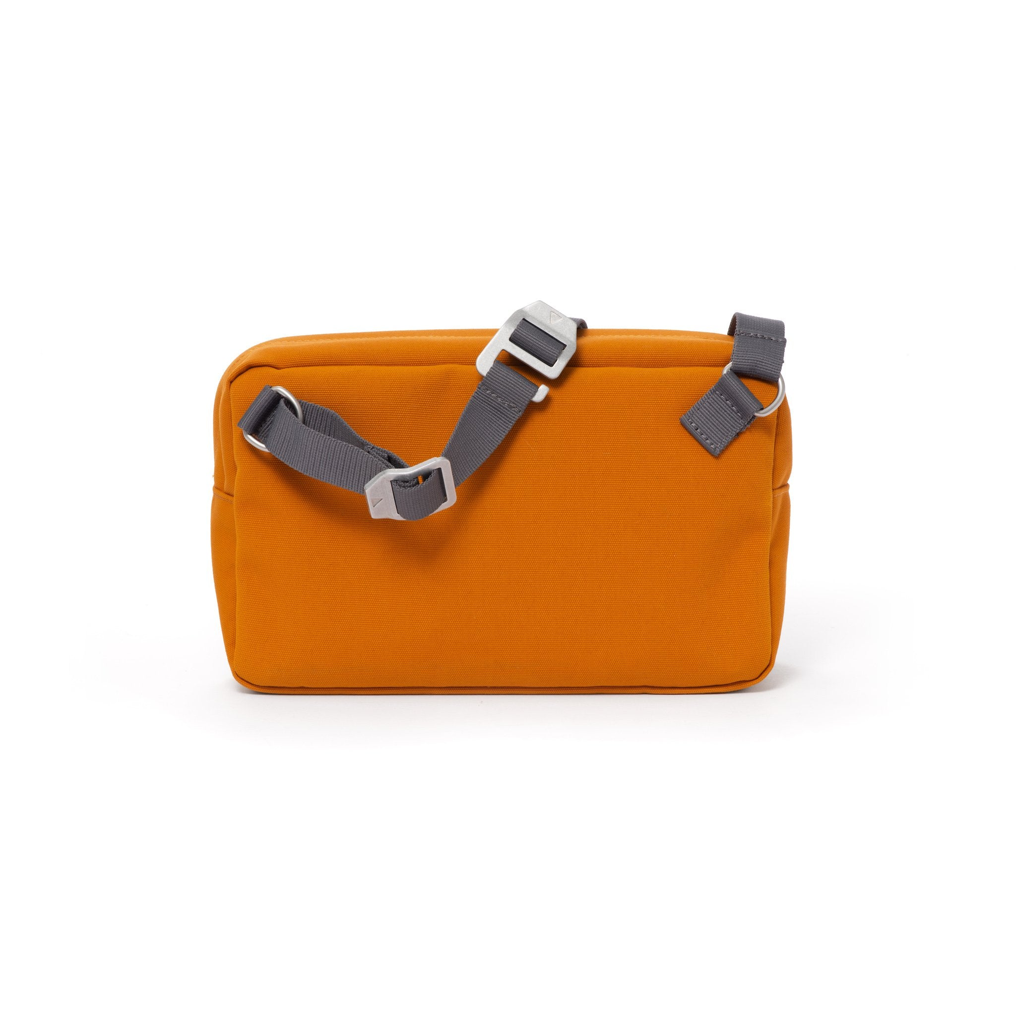 Orange shoulder bag with webbing strap and aluminium buckles.
