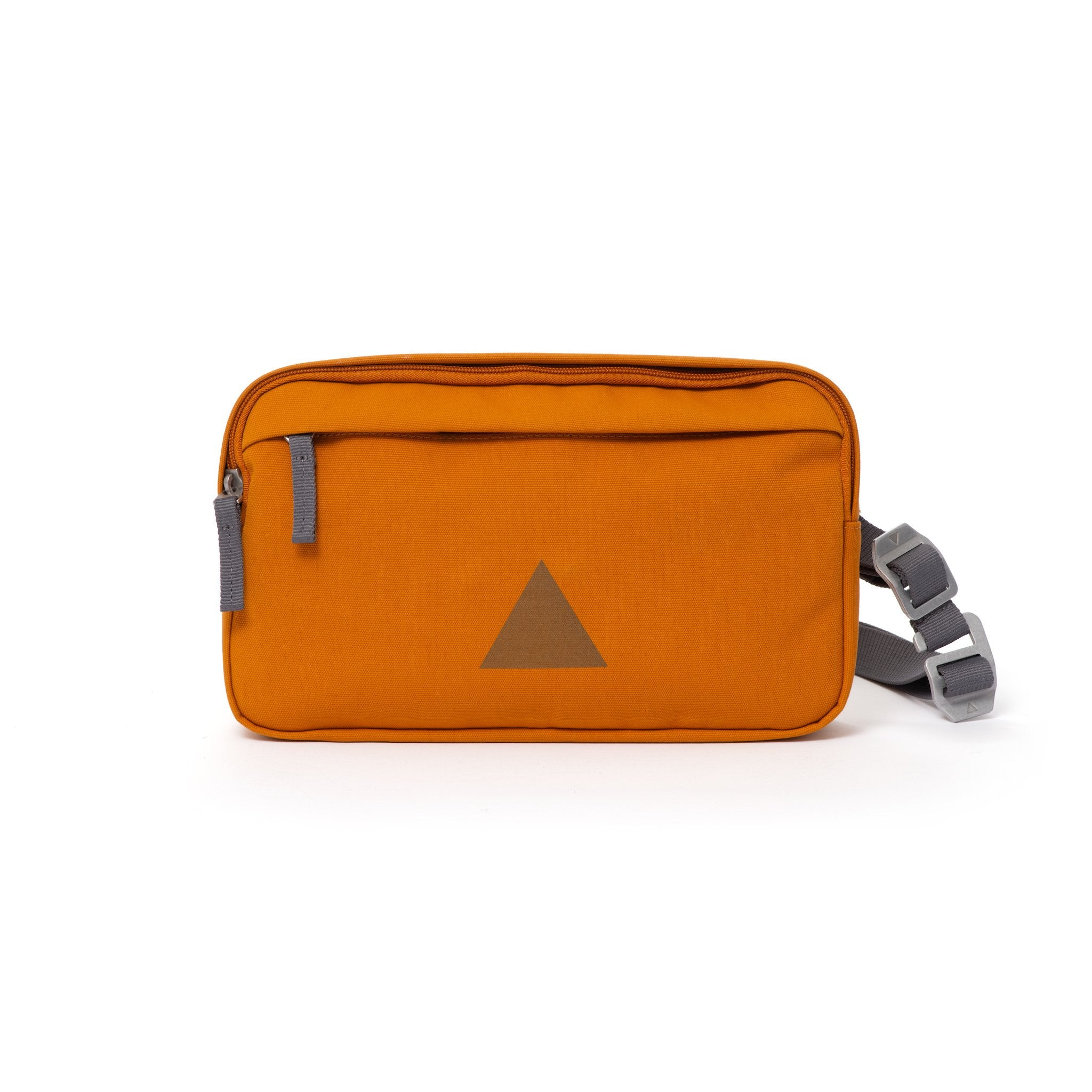 Orange Grey canvas shoulder bag with front zip pocket, webbing strap and aluminium buckles.