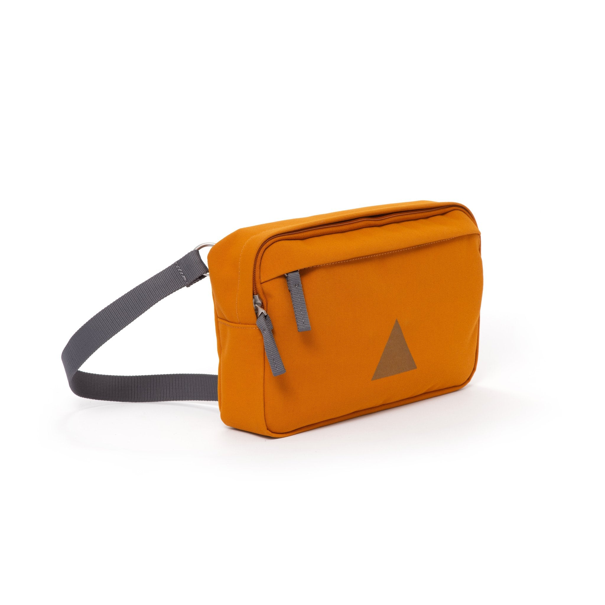 Orange canvas shoulder bag with zip pockets and webbing strap.
